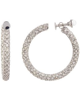 Crystal Pave Clip-on Hoop Earrings