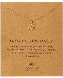 14k Gold Plated Sterling Silver Good Vibes Sun Charm Necklace