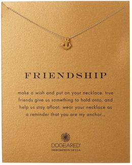 14k Gold Plated Sterling Silver Friendship Anchor Charm Necklace