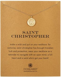 14k Gold Plated Sterling Silver St. Christopher Charm Necklace