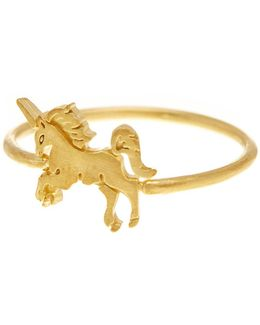 14k Gold Plated Sterling Silver Unicorn Ring - Size 6