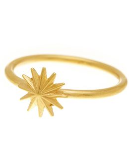 14k Gold Plated Sterling Silver Starburst Ring - Size 8