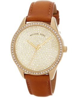 Women's Lady Nini Pave Crystal Leather Strap Watch