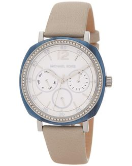 Women's Nia Crystal Accented Leather Strap Watch