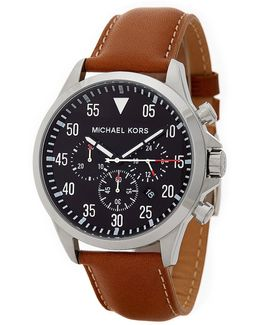 Men's Gage Chronograph Leather Strap Watch