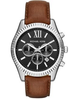 Men's Lexington Chronograph Leather Strap Watch