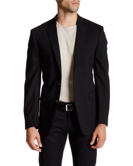 Solid Black Two Button Notch Lapel Jacket