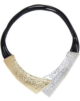 Hammered Two-tone Magnetic Collar Necklace