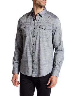 Long Sleeve Heathered Military Modern Fit Shirt