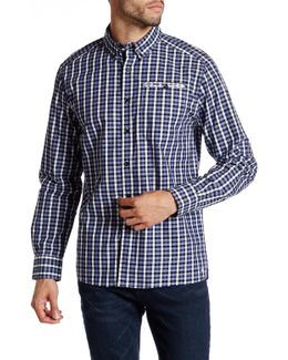 Long Sleeve Button Down Collar Check Modern Fit Shirt