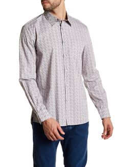 Long Sleeve Print Woven Modern Fit Shirt