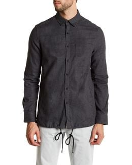 Long Sleeve Front Pocket Pinstripe Modern Fit Woven Shirt