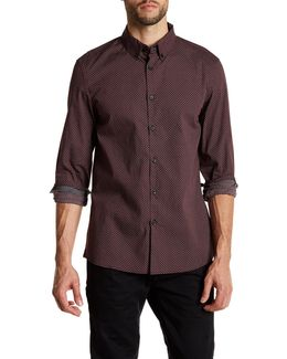 Collared Long Sleeve Print Woven Modern Fit Shirt