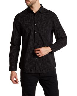 Long Sleeve Front Pocket Print Woven Modern fit Shirt