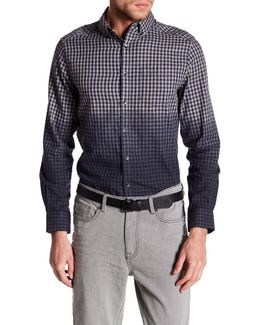 Long Sleeve Slim Fit Ombre Gingham Shirt