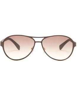 Women's Aviator Stainless Steel Frame Sunglasses