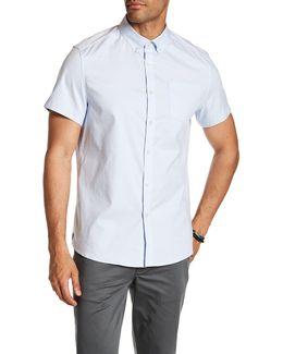 Short Sleeve Oxford Thin Stripe Print Trim Fit Shirt