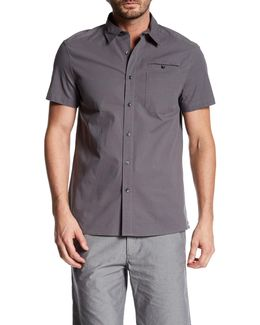 Short Sleeve Stretch Ripstop Trim Fit Shirt