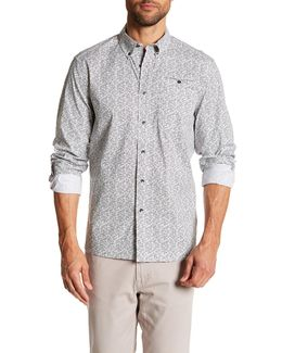 White Noise Print Long Sleeve Regular Fit Shirt