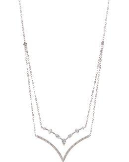 Celeste Double Cz Chevron Frontal Necklace