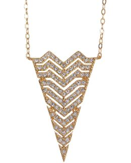 Chevron Triangle Long Pendant Necklace