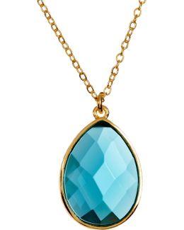 Milton Blue Topaz Teardrop Pendant Necklace