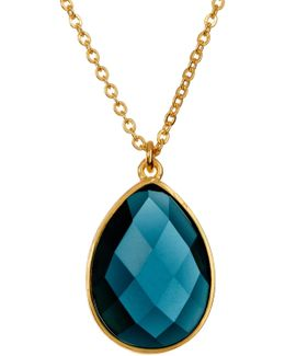 Milton London Blue Topaz Teardrop Pendant Necklace