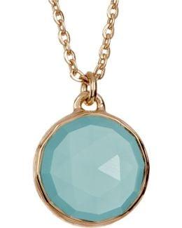 Round Aqua Onyx Pendant Necklace