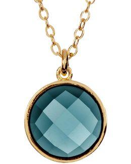 Hunter Round London Blue Topaz Pendant Necklace