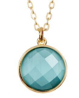 Hunter Round Cat's Eye Stone Pendant Necklace