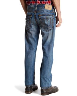 Distressed Straight Leg Flap Pocket Jean