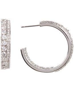 Double Row Crystal Pave In & Out Hoop Earrings
