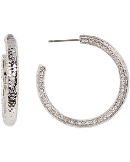 Textured Crystal Pave Hoop Earrings