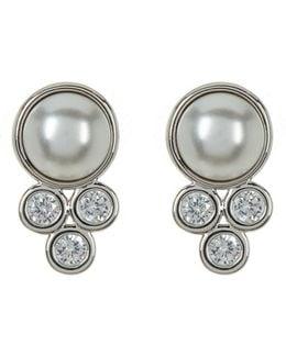 Bezel Imitation Mabe Pearl Stud Earrings