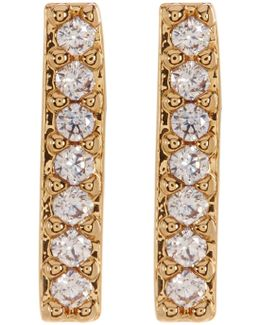 Cz Pave Bar Post Earrings