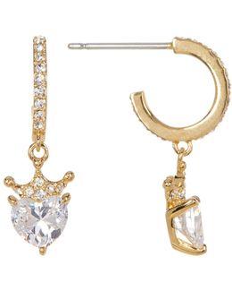 Faceted Heart Cz Drop Earrings