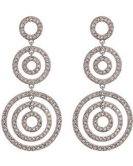 Crystal Pave 3 Ring Drop Earrings