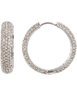 Wide Crystal Pave Hoop Earrings