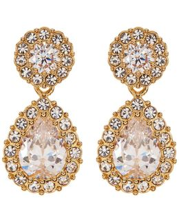 Crystal & Cz Pave Pear Drop Earrings
