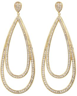 Large Crystal Double Teardrop Earrings