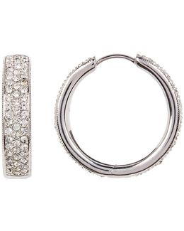 Medium Wide Crystal Pave Hoop Earrings