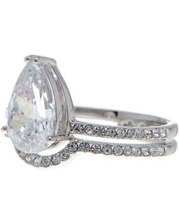 Celeste Cz Solitaire & Pave Double Band Ring - Size 6