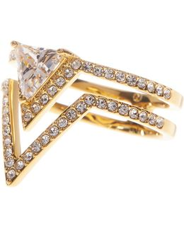 Double Open V Triangle Ring - Size 7