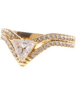 Double V Triangle Ring - Size 6