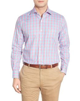 Track Windowpane Plaid Regular Fit Sport Shirt