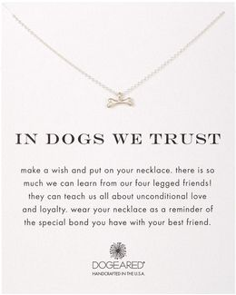 Sterling Silver In Dogs We Trust Bone Charm Necklace