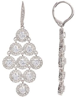 Crystal Halo Chandelier Kite Drop Earrings