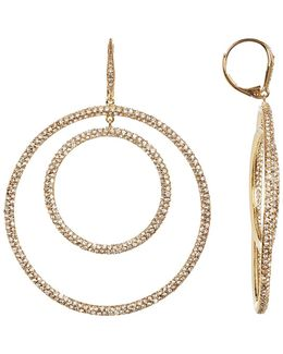 Crystal Pave Bullseye Hoop Earrings