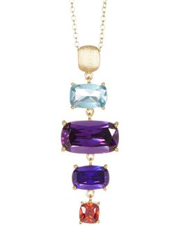 Gold Plated Sterling Silver Multi Color Cz Ladder Necklace
