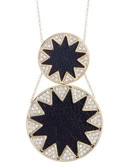 Leather & Crystal Sunburst Detail Double Pendant Necklace